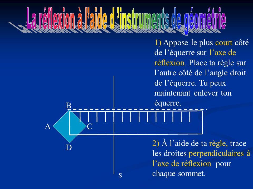 2) À laide de ta règle, trace les droites perpendiculaires à laxe de réflexion pour chaque sommet.