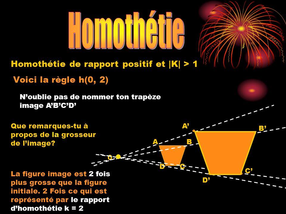 Voici la règle h(0, 2) 0 A DC B Homothétie de rapport positif et |K| > 1 Noublie pas de nommer ton trapèze image ABCD A D C B Que remarques-tu à propo