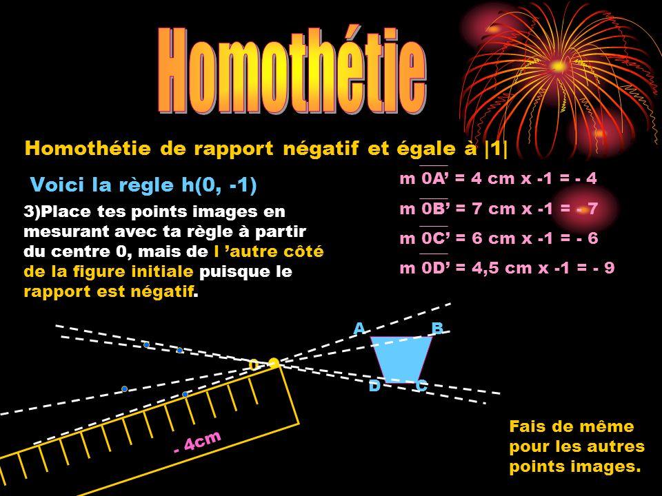 Voici la règle h(0, -1) 0 A DC B m 0A = 4 cm x -1 = - 4 m 0B = 7 cm x -1 = - 7 m 0C = 6 cm x -1 = - 6 m 0D = 4,5 cm x -1 = - 9 - 4cm 3)Place tes point