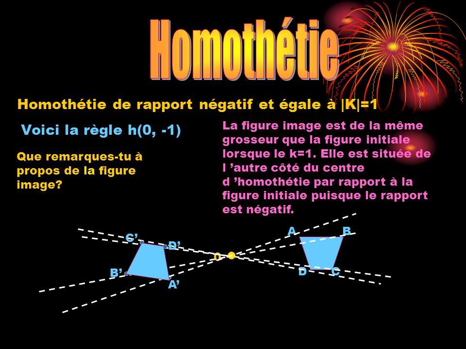 0 A DC B A B C D Homothétie de rapport négatif et égale à |K|=1 Voici la règle h(0, -1) Que remarques-tu à propos de la figure image? La figure image