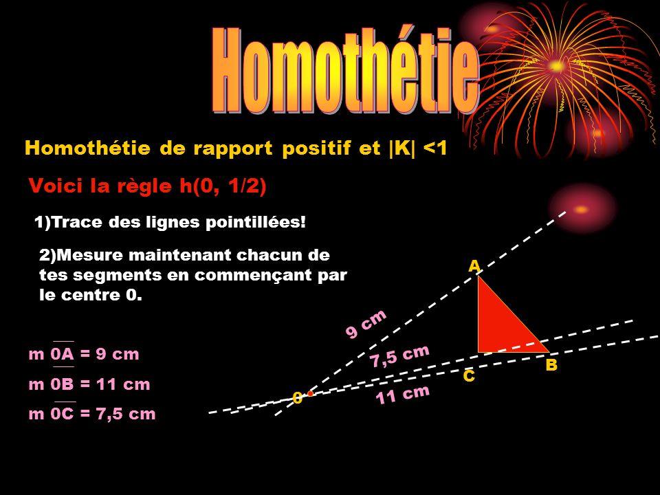 Homothétie de rapport positif et |K| <1 Voici la règle h(0, 1/2) 1)Trace des lignes pointillées! 2)Mesure maintenant chacun de tes segments en commenç