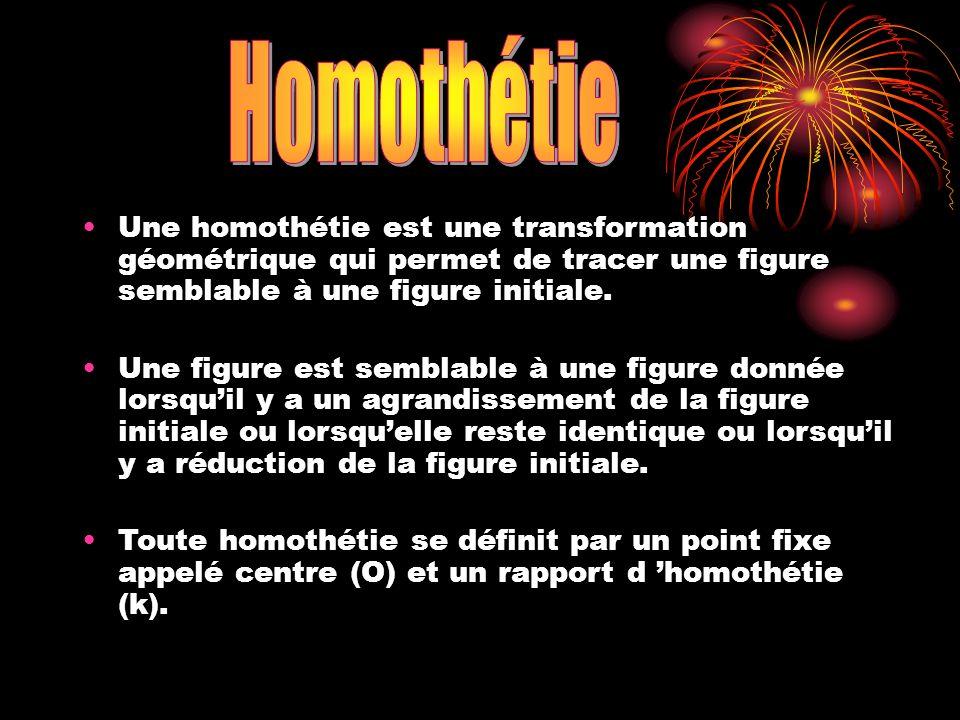 Une homothétie est une transformation géométrique qui permet de tracer une figure semblable à une figure initiale. Une figure est semblable à une figu