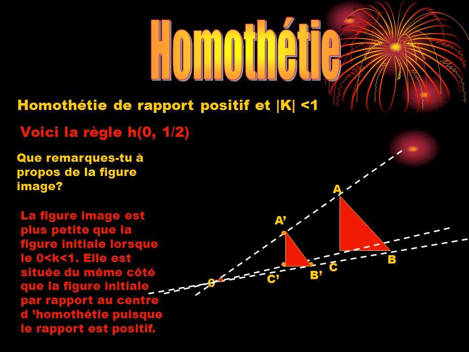Homothétie de rapport positif et |K| <1 Voici la règle h(0, 1/2) 0 A B C Que remarques-tu à propos de la figure image? La figure image est plus petite
