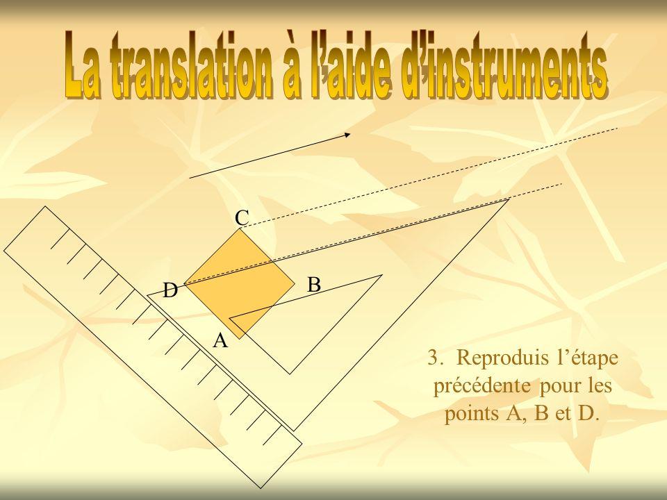 3. Reproduis létape précédente pour les points A, B et D. A B C D