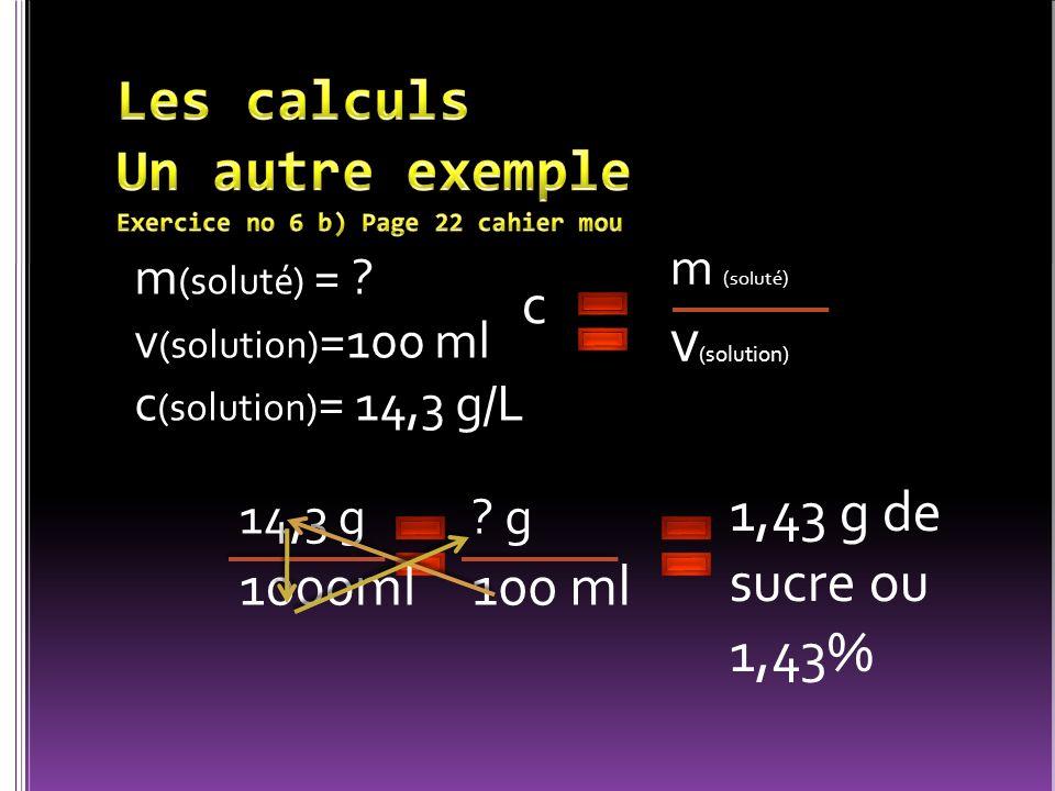 m (soluté) = ? v (solution) =100 ml c (solution) = 14,3 g/L c m (soluté) v (solution) ? g 100 ml 1,43 g de sucre ou 1,43% 14,3 g 1000ml