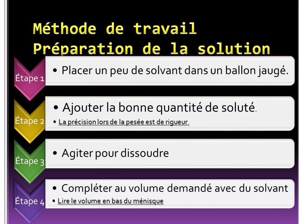 Étape 1 Placer un peu de solvant dans un ballon jaugé. Étape 2 Ajouter la bonne quantité de soluté. La précision lors de la pesée est de rigueur.La pr