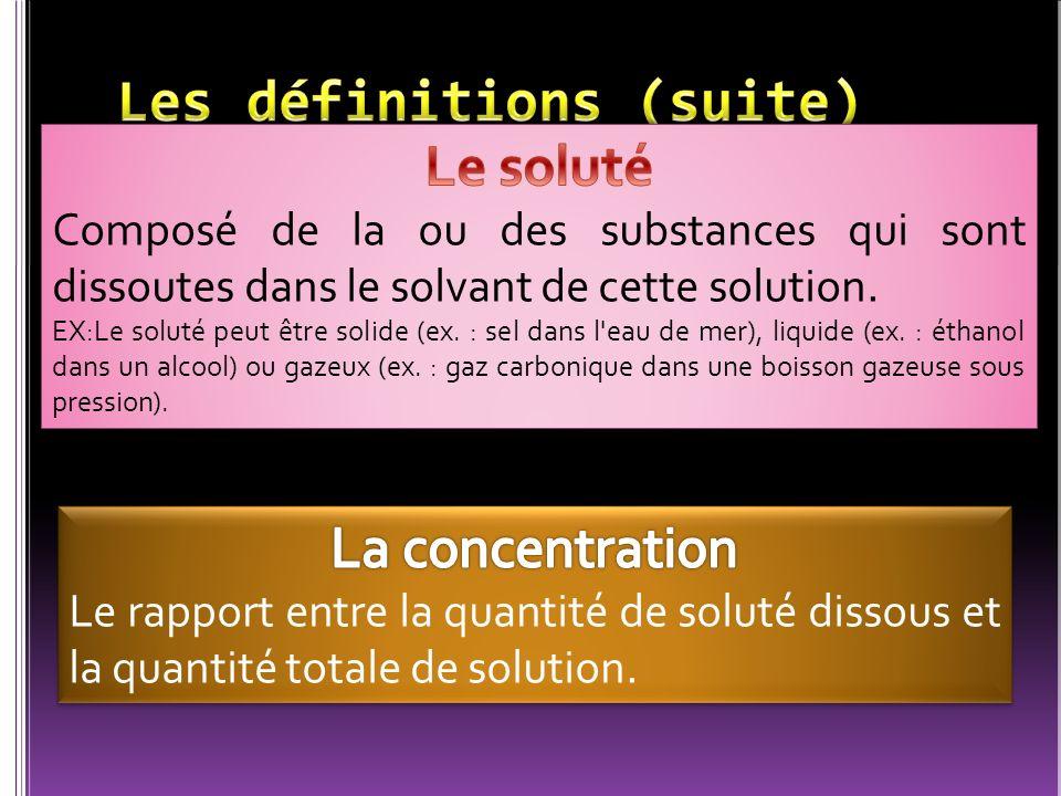 Concentration (C) Quantité de soluté (m) Quantité de solution (V)