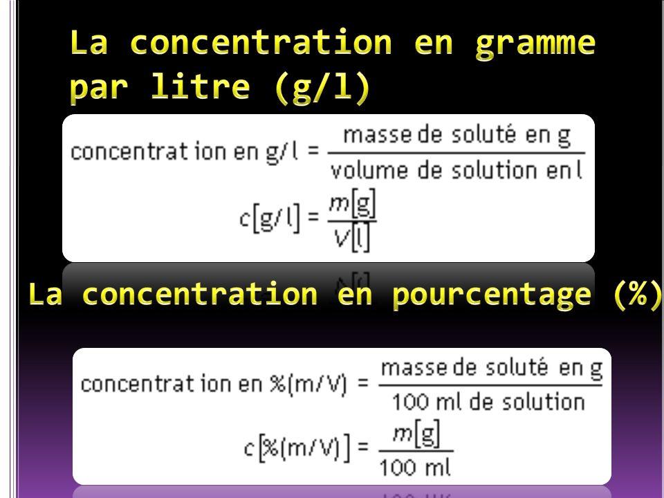 ? g 100 ml 3,70g de soluté dans 100ml de solution ou 3,7% 37000g 1000000 ml