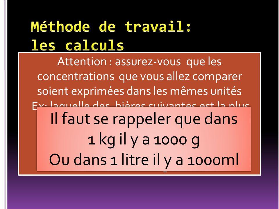 Exemple: exercice 6 a) page 22 du cahier mou: m(soluté ) = 5g de sucre v(solution)=350mL /1000 mL = 0,350 L c(solution)= 1-toujours inscrire les données avant de commencer.