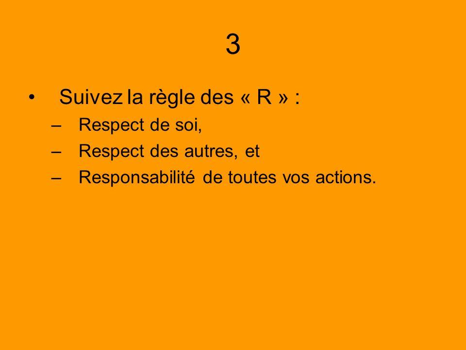 3 Suivez la règle des « R » : –Respect de soi, –Respect des autres, et –Responsabilité de toutes vos actions.