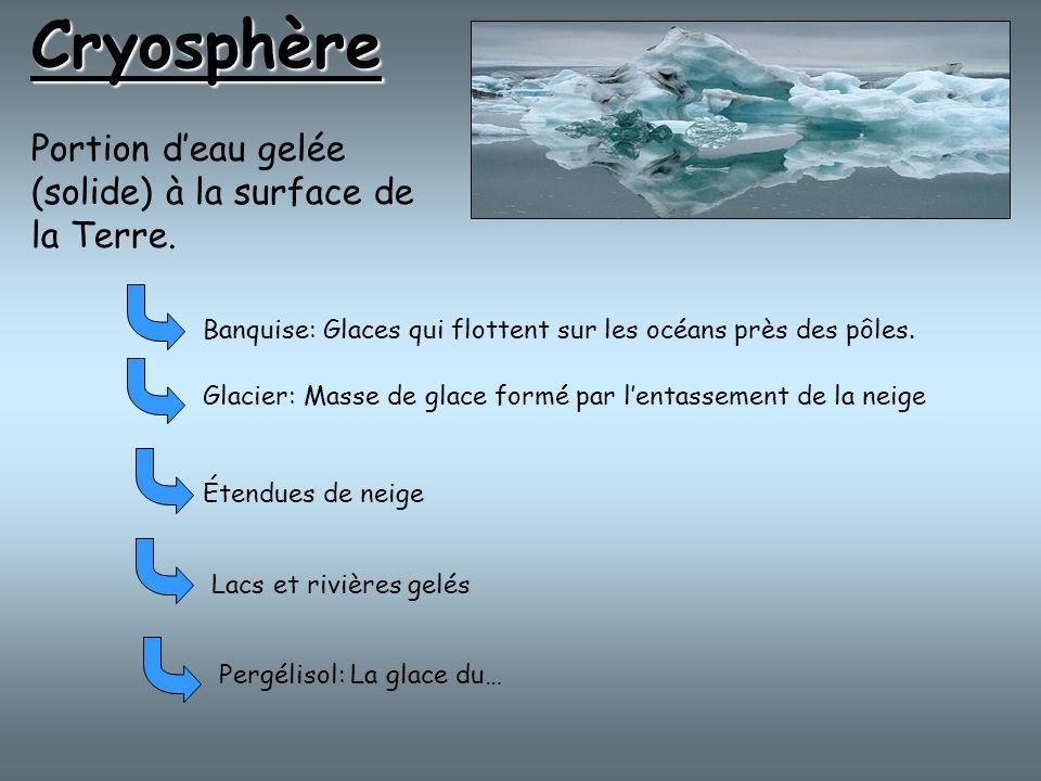 Cryosphère Portion deau gelée (solide) à la surface de la Terre. Banquise: Glaces qui flottent sur les océans près des pôles. Glacier: Masse de glace