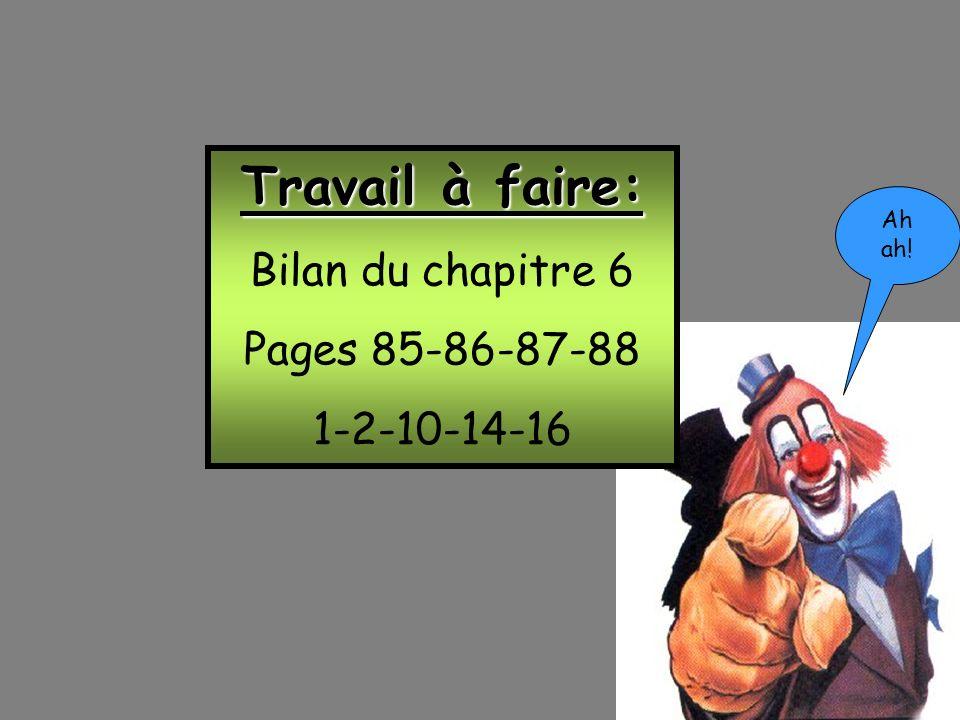 Fin! Travail à faire: Bilan du chapitre 6 Pages 85-86-87-88 1-2-10-14-16 Ah ah!