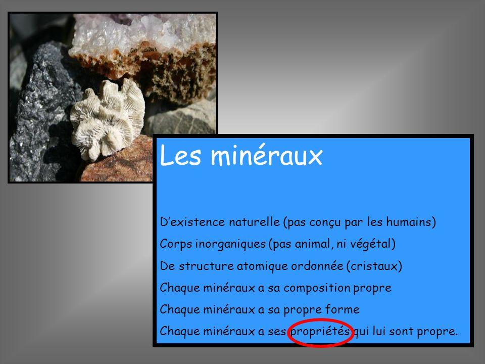 Les minéraux Dexistence naturelle (pas conçu par les humains) Corps inorganiques (pas animal, ni végétal) De structure atomique ordonnée (cristaux) Ch