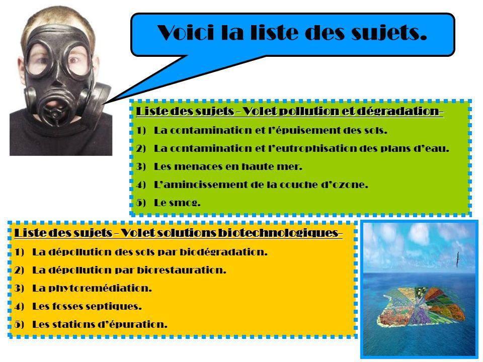 Liste des sujets - Volet pollution et dégradation- 1)La contamination et lépuisement des sols. 2)La contamination et leutrophisation des plans deau. 3