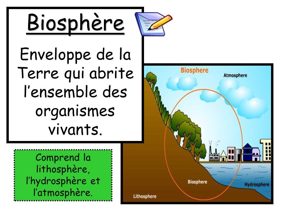 Biosphère Enveloppe de la Terre qui abrite lensemble des organismes vivants. Comprend la lithosphère, lhydrosphère et latmosphère.