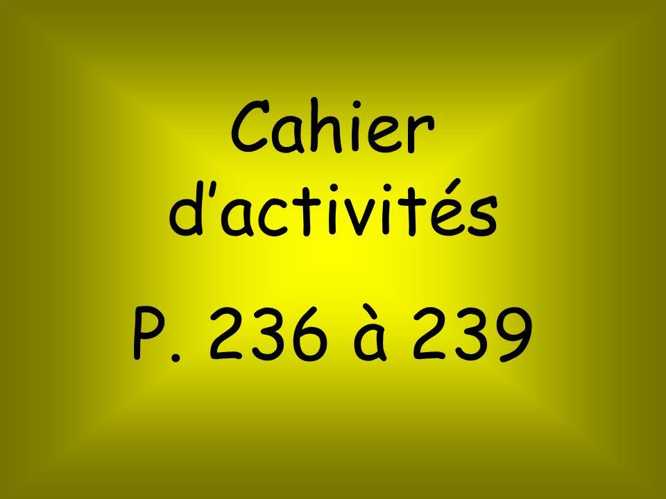 Cahier dactivités P. 236 à 239