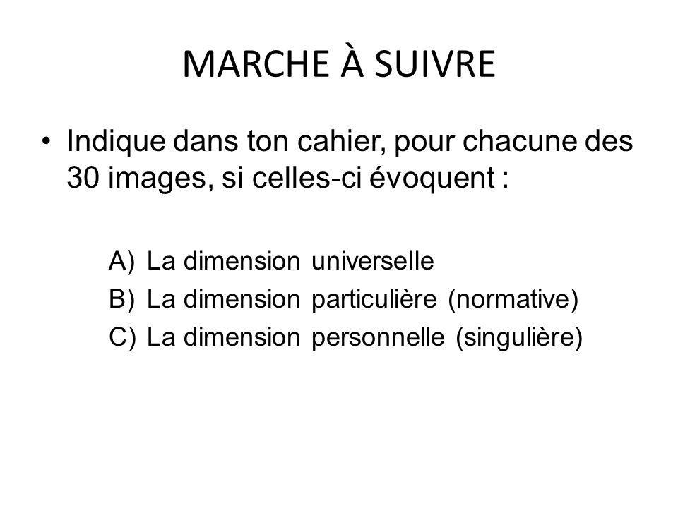 MARCHE À SUIVRE Indique dans ton cahier, pour chacune des 30 images, si celles-ci évoquent : A)La dimension universelle B)La dimension particulière (normative) C)La dimension personnelle (singulière)