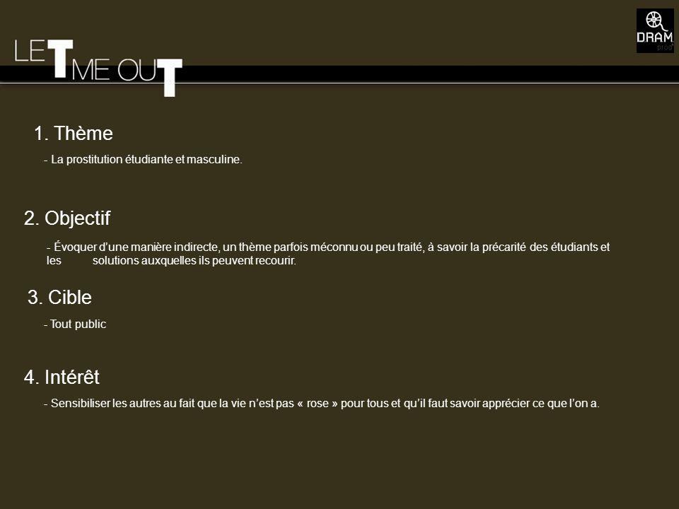 1. Thème 2. Objectif 3. Cible 4. Intérêt - La prostitution étudiante et masculine. - Tout public - Sensibiliser les autres au fait que la vie nest pas