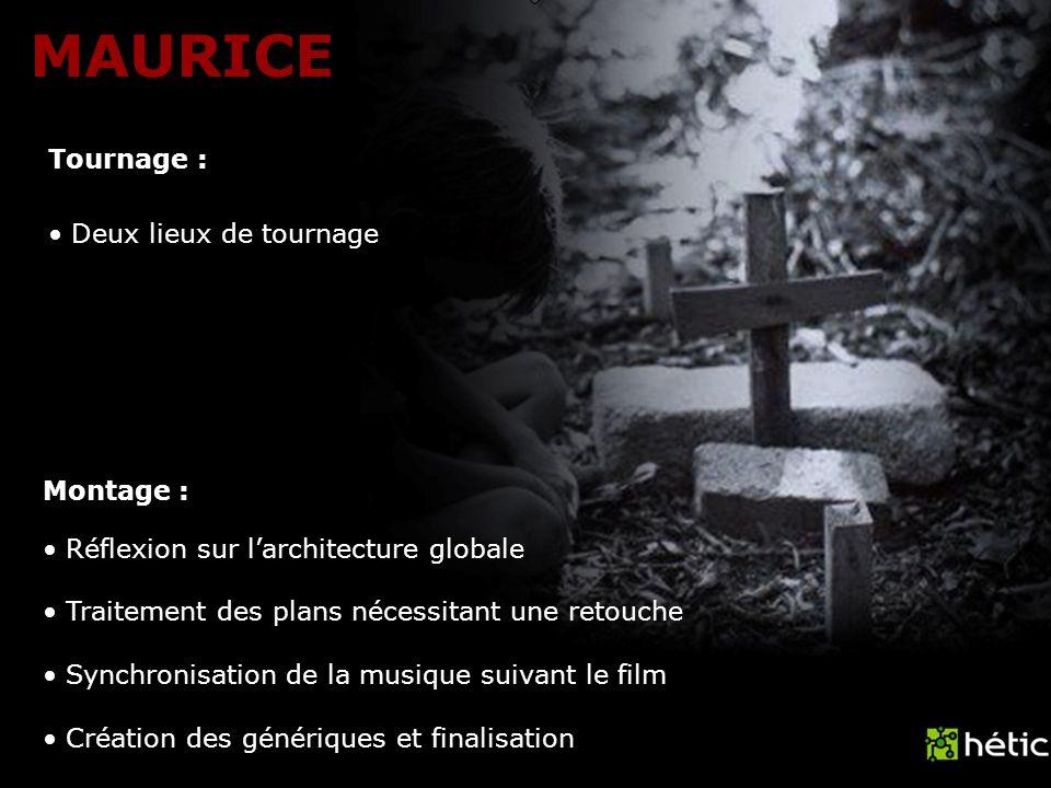 MAURICE Tournage : Montage : Deux lieux de tournage Réflexion sur larchitecture globale Traitement des plans nécessitant une retouche Synchronisation