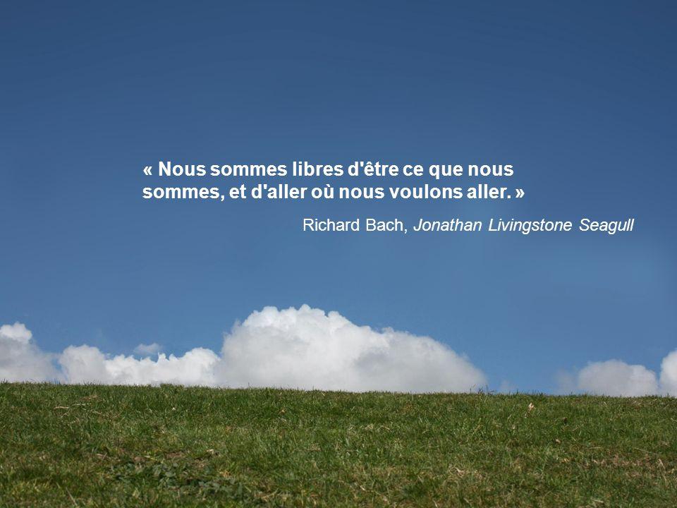 « Nous sommes libres d'être ce que nous sommes, et d'aller où nous voulons aller. » Richard Bach, Jonathan Livingstone Seagull