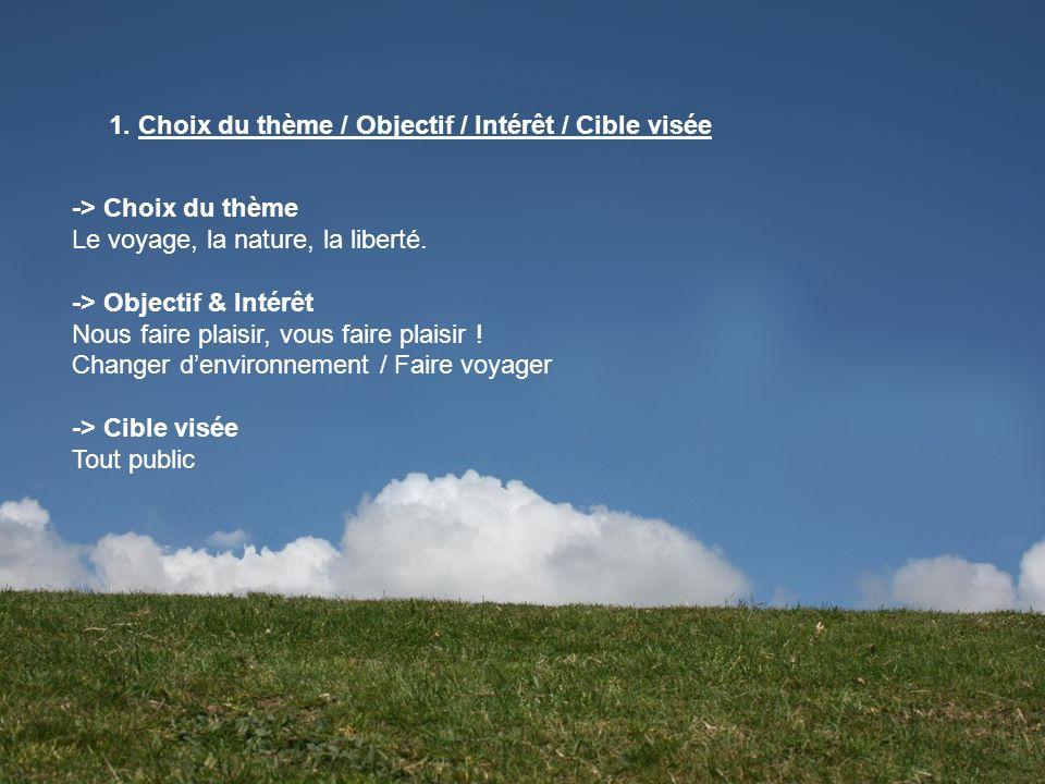 1. Choix du thème / Objectif / Intérêt / Cible visée -> Choix du thème Le voyage, la nature, la liberté. -> Objectif & Intérêt Nous faire plaisir, vou