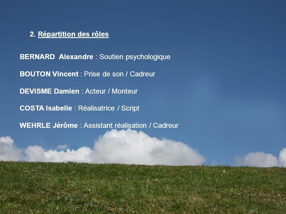 2. Répartition des rôles BERNARD Alexandre : Soutien psychologique BOUTON Vincent : Prise de son / Cadreur DEVISME Damien : Acteur / Monteur COSTA Isa