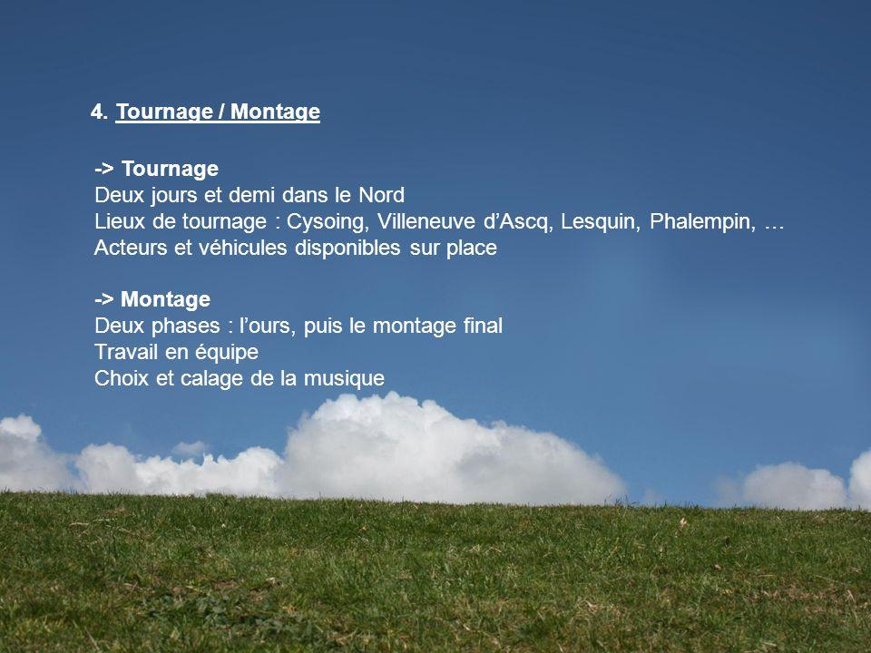 4. Tournage / Montage -> Tournage Deux jours et demi dans le Nord Lieux de tournage : Cysoing, Villeneuve dAscq, Lesquin, Phalempin, … Acteurs et véhi