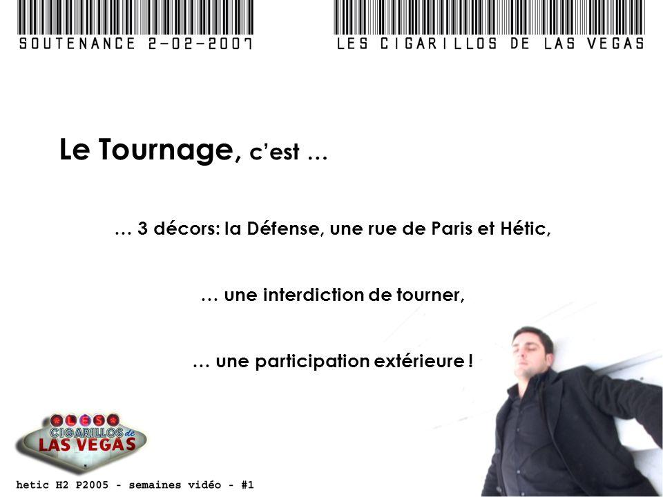 Le Tournage, cest … … 3 décors: la Défense, une rue de Paris et Hétic, … une interdiction de tourner, … une participation extérieure !