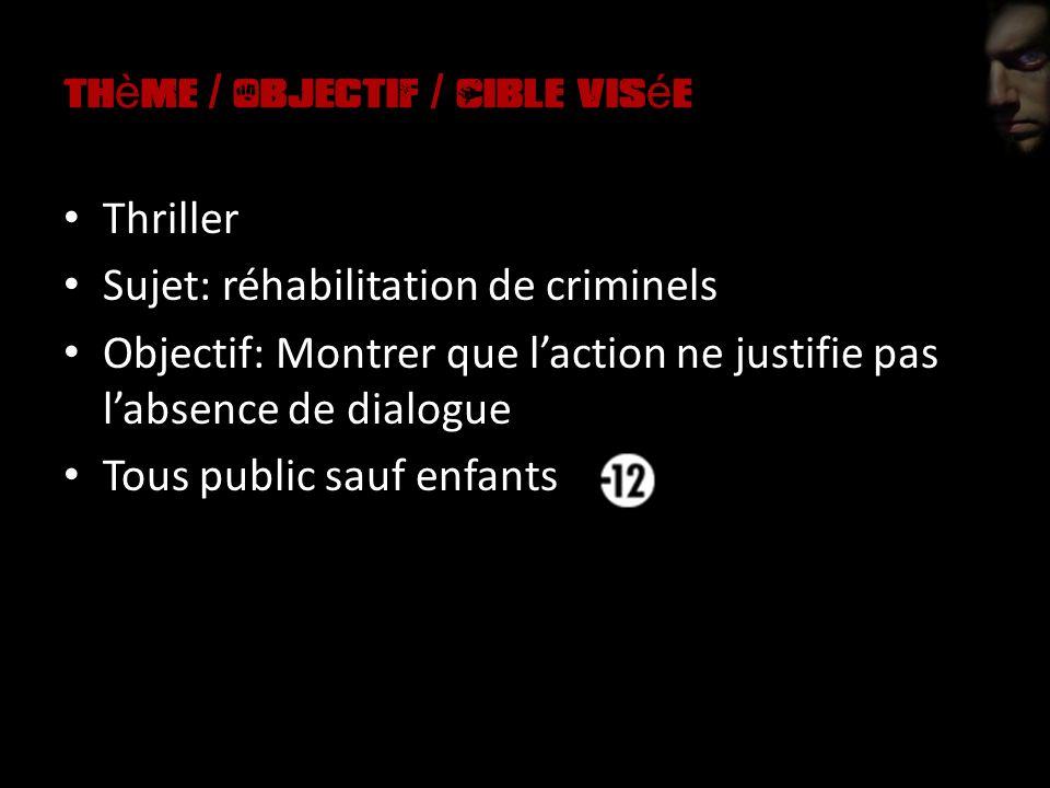 th è me / Objectif / Cible vis é e Thriller Sujet: réhabilitation de criminels Objectif: Montrer que laction ne justifie pas labsence de dialogue Tous public sauf enfants