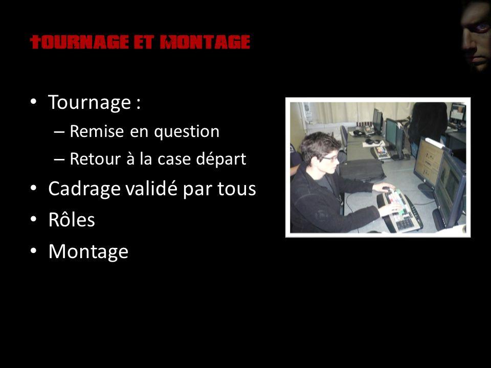 Tournage et Montage Tournage : – Remise en question – Retour à la case départ Cadrage validé par tous Rôles Montage
