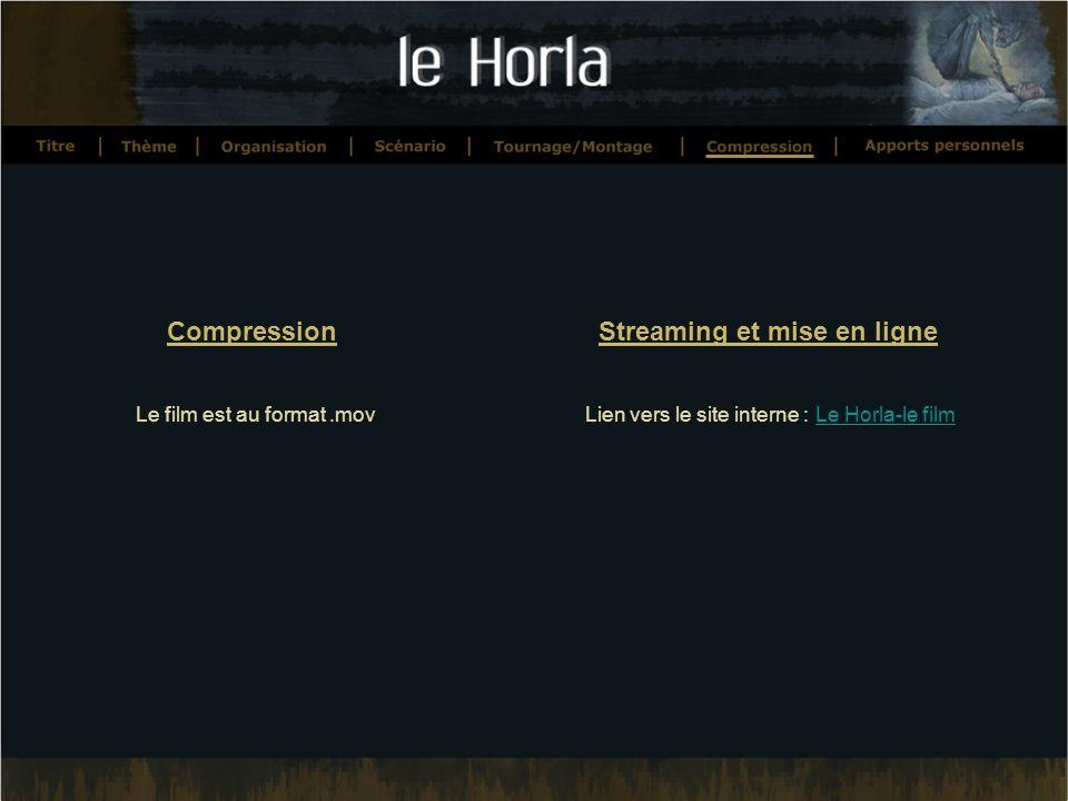 Compression Le film est au format.mov Streaming et mise en ligne Lien vers le site interne : Le Horla-le filmLe Horla-le film