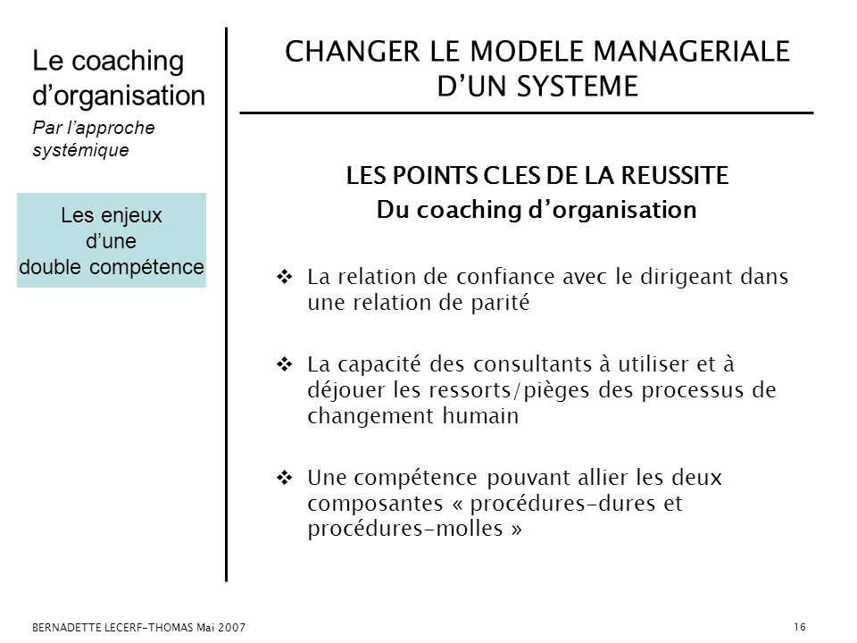 Le coaching dorganisation Par lapproche systémique BERNADETTE LECERF-THOMAS Mai 2007 16 LES POINTS CLES DE LA REUSSITE Du coaching dorganisation La re