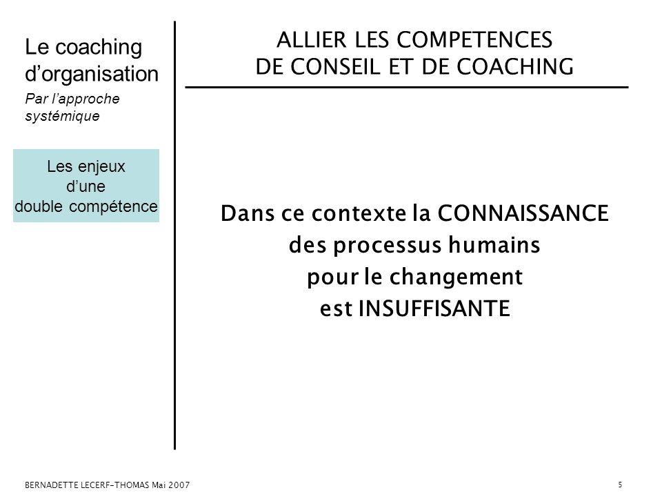 Le coaching dorganisation Par lapproche systémique BERNADETTE LECERF-THOMAS Mai 2007 5 ALLIER LES COMPETENCES DE CONSEIL ET DE COACHING Dans ce contex