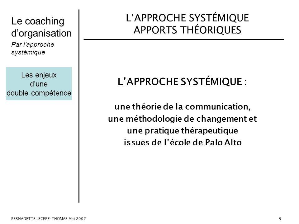 Le coaching dorganisation Par lapproche systémique BERNADETTE LECERF-THOMAS Mai 2007 6 LAPPROCHE SYSTÉMIQUE APPORTS THÉORIQUES LAPPROCHE SYSTÉMIQUE :