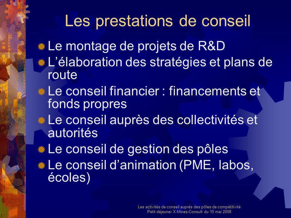 Les activités de conseil auprès des pôles de compétitivité Petit déjeuner X-Mines-Consult du 15 mai 2008 Les prestations de conseil Le montage de proj