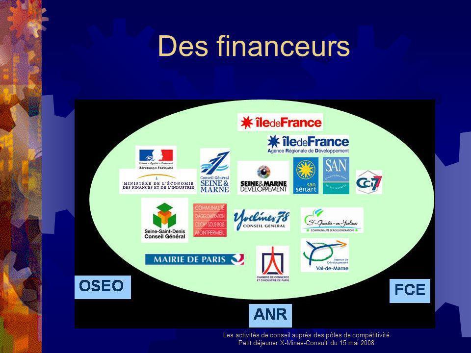 Les activités de conseil auprès des pôles de compétitivité Petit déjeuner X-Mines-Consult du 15 mai 2008 Des financeurs