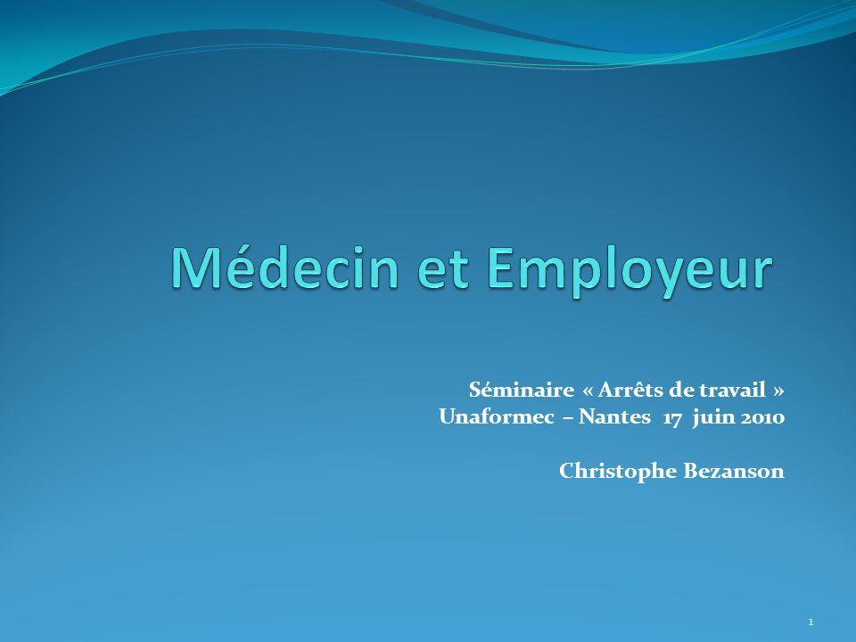 Séminaire « Arrêts de travail » Unaformec – Nantes 17 juin 2010 Christophe Bezanson 1