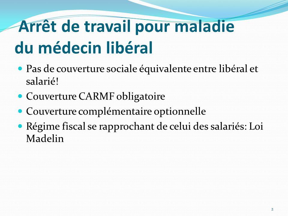 Arrêt de travail pour maladie du médecin libéral Pas de couverture sociale équivalente entre libéral et salarié! Couverture CARMF obligatoire Couvertu
