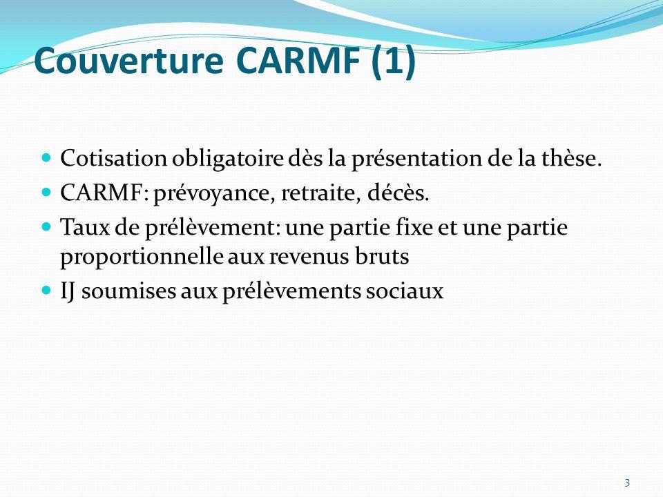 Couverture CARMF (1) Cotisation obligatoire dès la présentation de la thèse. CARMF: prévoyance, retraite, décès. Taux de prélèvement: une partie fixe