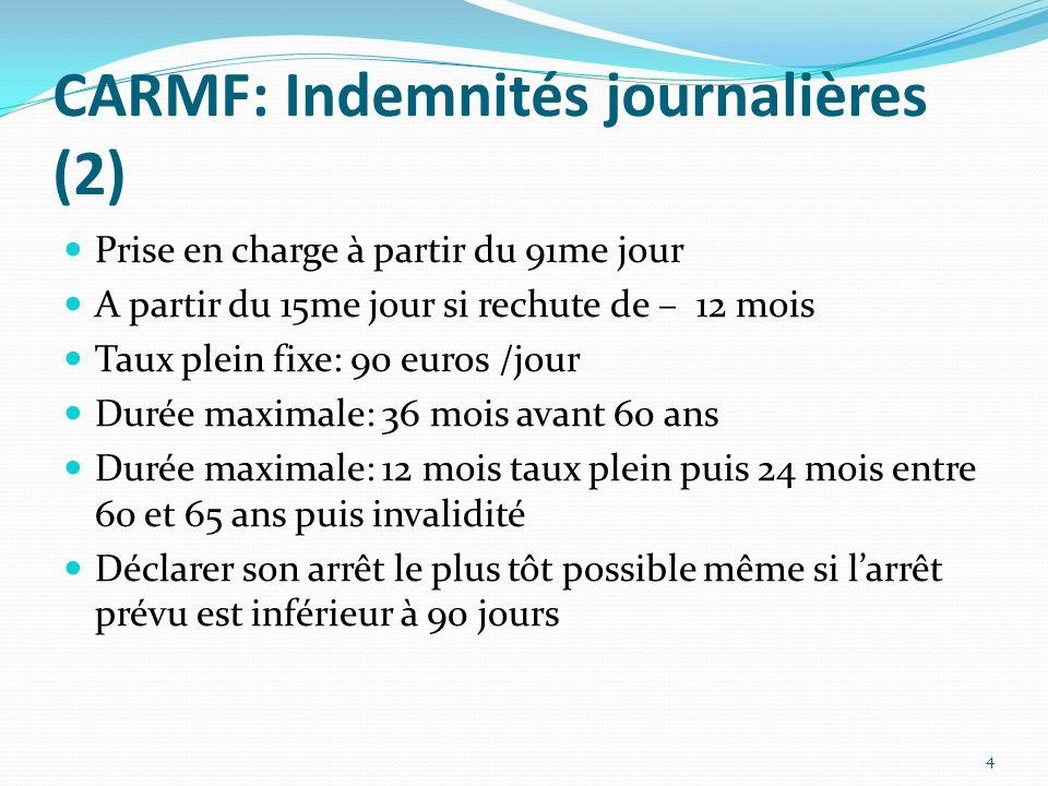 CARMF: Indemnités journalières (2) Prise en charge à partir du 91me jour A partir du 15me jour si rechute de – 12 mois Taux plein fixe: 90 euros /jour