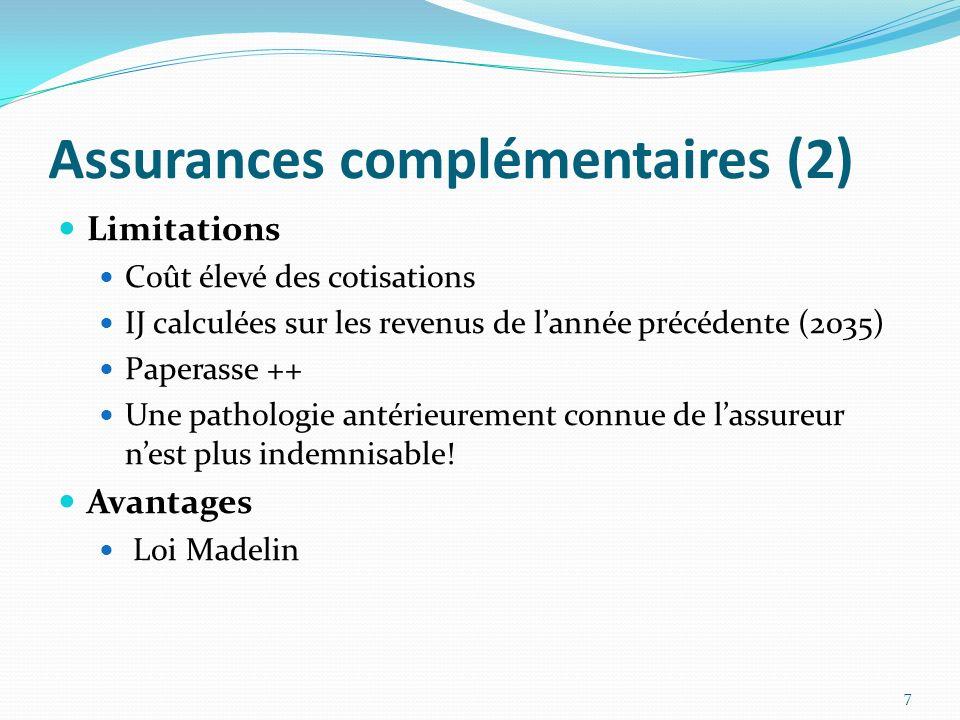 Assurances complémentaires (2) Limitations Coût élevé des cotisations IJ calculées sur les revenus de lannée précédente (2035) Paperasse ++ Une pathol