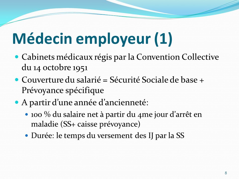 Médecin employeur (1) Cabinets médicaux régis par la Convention Collective du 14 octobre 1951 Couverture du salarié = Sécurité Sociale de base + Prévo