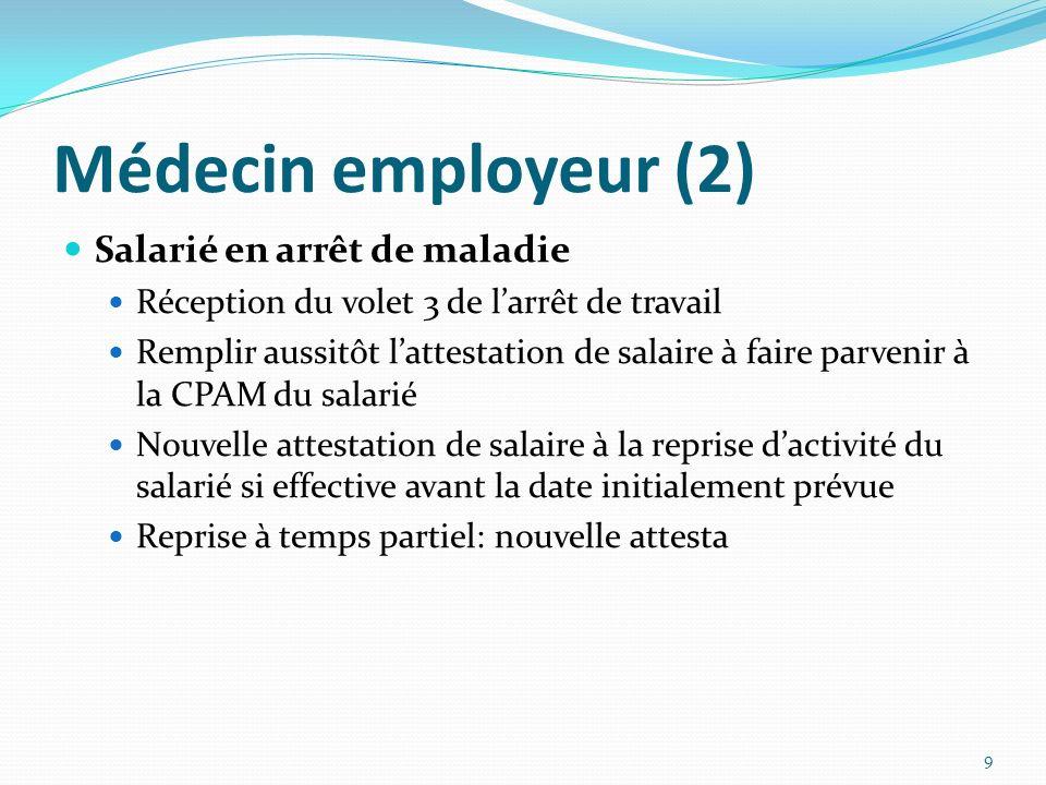 Médecin employeur (2) Salarié en arrêt de maladie Réception du volet 3 de larrêt de travail Remplir aussitôt lattestation de salaire à faire parvenir