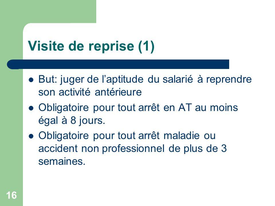 Visite de reprise (1) But: juger de laptitude du salarié à reprendre son activité antérieure Obligatoire pour tout arrêt en AT au moins égal à 8 jours