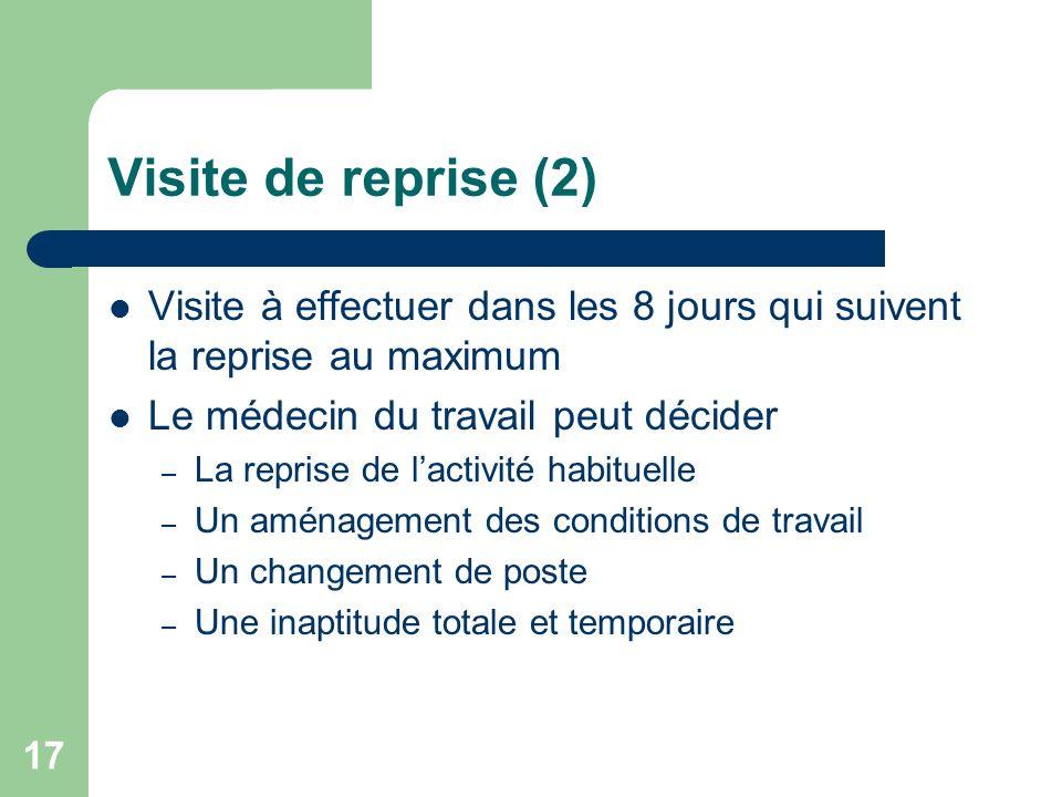Visite de reprise (2) Visite à effectuer dans les 8 jours qui suivent la reprise au maximum Le médecin du travail peut décider – La reprise de lactivi