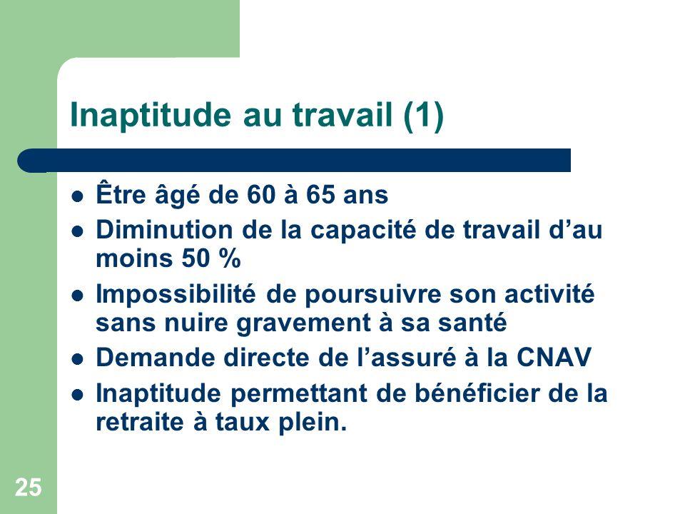 Inaptitude au travail (1) Être âgé de 60 à 65 ans Diminution de la capacité de travail dau moins 50 % Impossibilité de poursuivre son activité sans nu