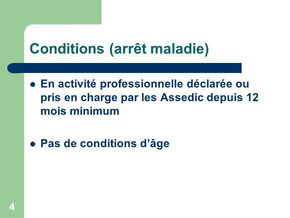 Conditions (arrêt maladie) En activité professionnelle déclarée ou pris en charge par les Assedic depuis 12 mois minimum Pas de conditions dâge 4