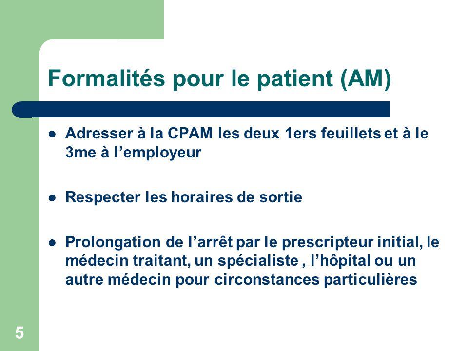 Formalités pour le patient (AM) Adresser à la CPAM les deux 1ers feuillets et à le 3me à lemployeur Respecter les horaires de sortie Prolongation de l