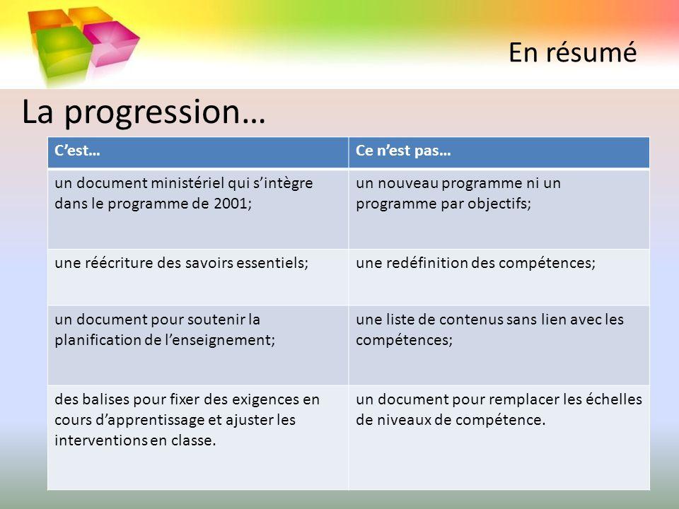 En résumé Cest…Ce nest pas… un document ministériel qui sintègre dans le programme de 2001; un nouveau programme ni un programme par objectifs; une ré