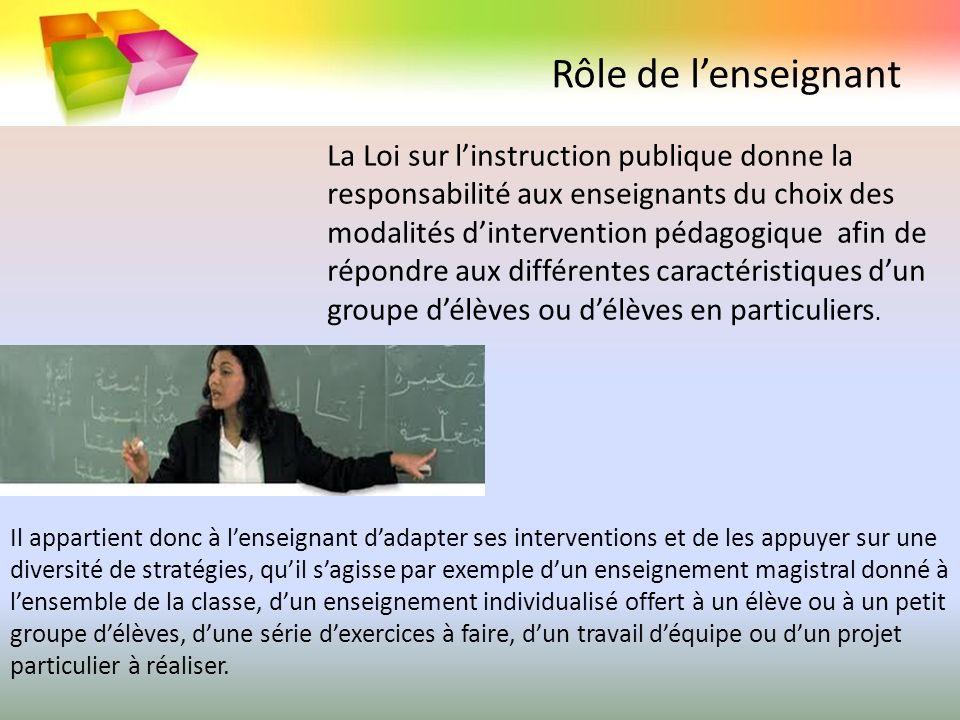 Rôle de lenseignant La Loi sur linstruction publique donne la responsabilité aux enseignants du choix des modalités dintervention pédagogique afin de